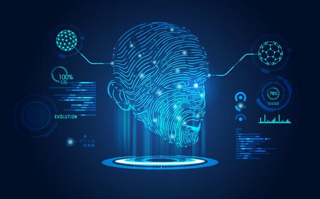 Concept de biométrie, numérisation numérique du visage, visage humain combiné avec carte électronique