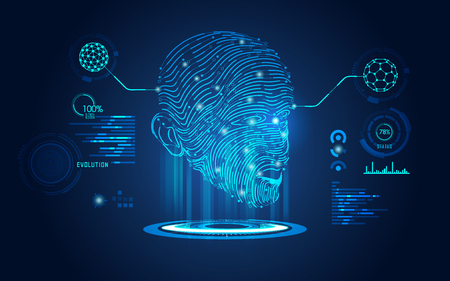 Konzept der biometrischen, digitalen Face Scanning, menschliches Gesicht kombiniert mit elektronischen Board
