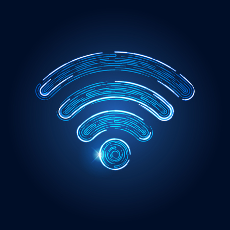 wireless network symbol in futuristic theme, conceptual disign of abstract wifi emblem