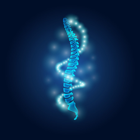 human spine with the dna ligth in science fiction theme