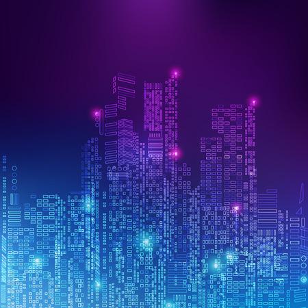 추상 기술 배경; 매트릭스 스타일의 디지털 건물; 조명 효과와 결합 된 기술 도시 일러스트