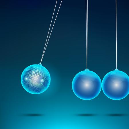 Blue metallic  ball with electric metal shiny ball of pendulum