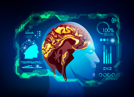 Abstract futuristic brain scanning, concept of healthcare technology; digital interface of brain scanner