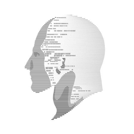 기술 발전의 개념, 디지털 얼굴 스캐닝, 인간의 얼굴 이진 코드와 결합. 일러스트