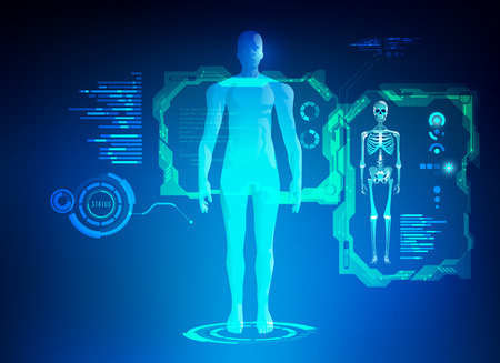 Concept of healthcare technology; scientific interface of identity check; digital blueprint of 3D body part of human. Vectores