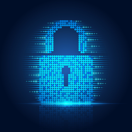 Concept of online security, abstract lighting technology padlock; Illustration
