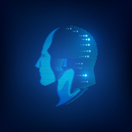 Concept of biometric, digital Face Scanning, and human head combined with lighting effect Иллюстрация