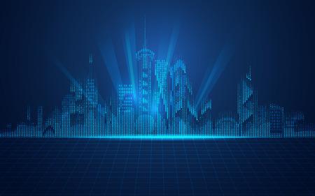 abstracte technische achtergrond; digitaal gebouw in moderne stijl; concept van de technologische wereld