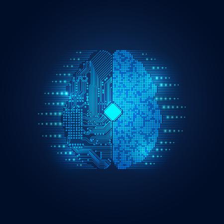 gráfico de un cerebro en aspecto tecnológico; tecnología abstracta cuidado de la salud; plano digital del cerebro Ilustración de vector