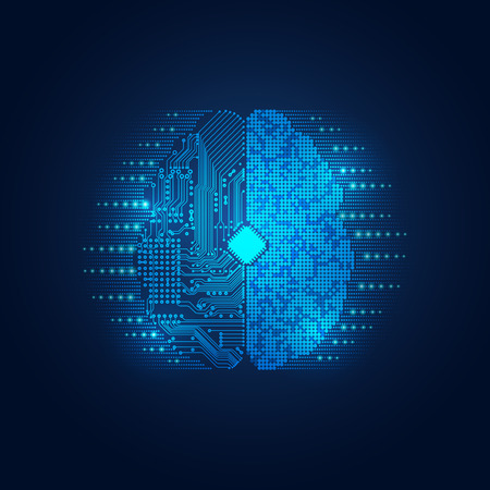 graphic of a brain in technological look; abstract technology health care; digital blueprint of brain