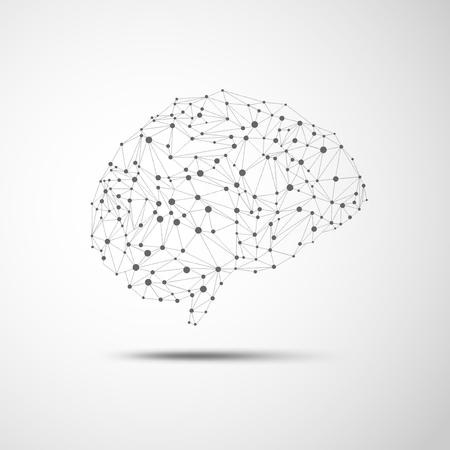wireframe brain in scientific theme 矢量图像