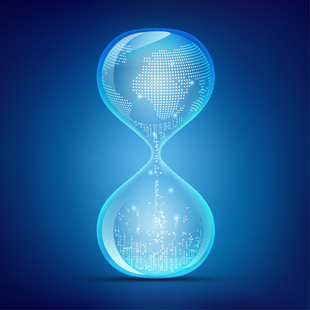 concept of digital advancement technology, hourglass with global and binary