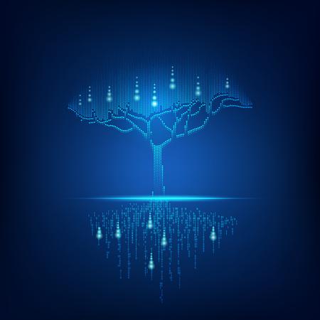 futuristic digital tree with binary root Ilustração Vetorial