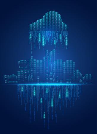 pojęcie cloud computing, pejzaż w futurystycznym stylu Ilustracje wektorowe