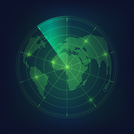 radar screen and world map in digital theme Vectores