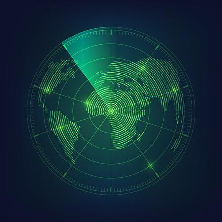 pantalla de radar y mapa mundial en tema digital