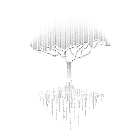 futuristic digital tree with binary root Ilustrace