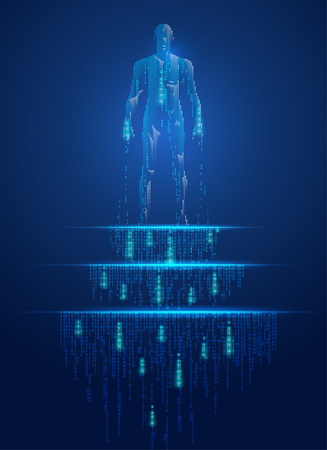 concept of technology advancement, binary man standing