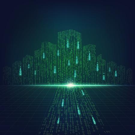 Konzept der digitalen Weiterentwicklungstechnologie, digitales Stadtbild in der Matrixart; binäre Stadt des grünen Lichts,