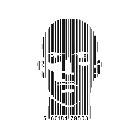 Vector of bar-code combined with man face