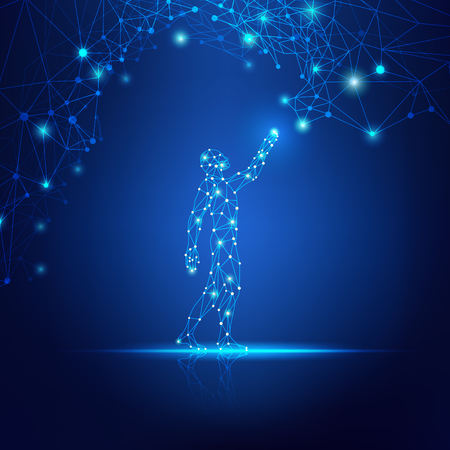 Concept de technologie de nuage, homme numérique atteignant la ligne connectée futuriste.