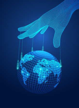 Concept of power control, wireframe hand control digital global