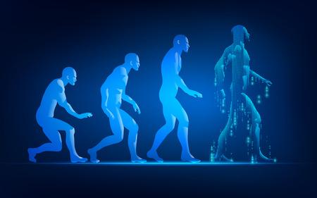Concept d'évolution de l'évolution de la technologie, évolution de l'homme dans un style futuriste conceptuel