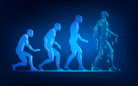 Concept of technology advancement evolution, evolution of man in conceptual futuristic style