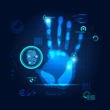 hand scan in futuristic style, vactor of handprint with technological theme
