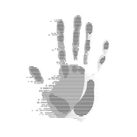 futuristische digitale handafdruk, vorm van handprint gecombineerd met binaire code