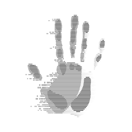 futuristic digital handprint, shape of handprint combined with binary code Illustration