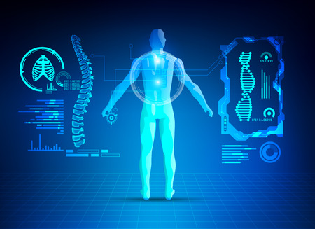 concept of healthcare technology; scientific interface of identity check; digital blueprint of 3D body part of human Çizim