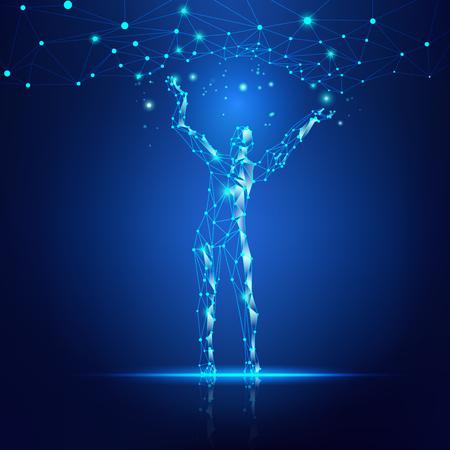 concepto de tecnología de la nube, hombre digital que alcanza la línea de conexión futurista