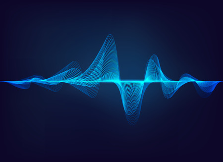 abstract digital green blue equalizer, sound wave pattern element Ilustracja