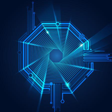 astratto sfondo futuristico, tecnologia astratta a forma di ottagono