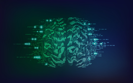 binary brain with sci-fi theme, concept of technology advancement