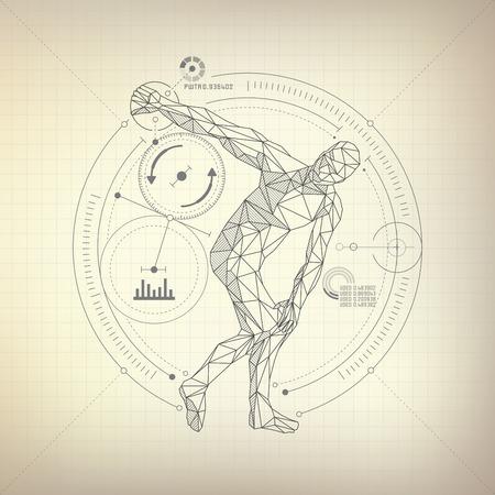 hombre de polígono de estructura metálica está lanzando un disco en estilo retro futurista, vector de discobolus en estilo abstracto modarn Ilustración de vector