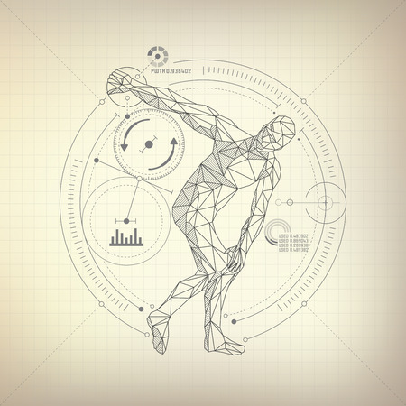 wireframe polygon man is throwing disc in futuristic retro style, vector of discobolus in modarn abstract style