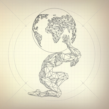 wireframe polygon man carrying globe in futuristic retro style, vector of atlas in modarn abstract style