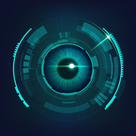 cyber futuristic eye in dark bule-green tone, concept of cyber security