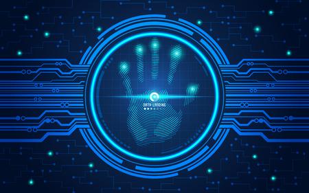 未来的なスタイルで、技術テーマ、サイバー セキュリティの概念と手形のベクター スキャンを手します。