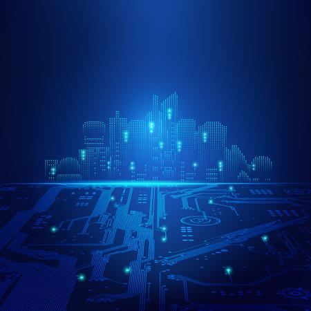 abstrakcyjne futurystyczne tło; cyfrowy budynek w stylu matrycy; miasto technologiczne połączone z tablicą elektroniczną