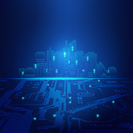 abstract futuristic background; digital building in a matrix style; technological city combined with electronic board Illustration