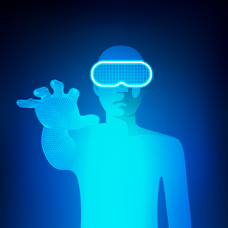 Concept of virtual reality technology, a man with head-set gadget reaching hand Illustration