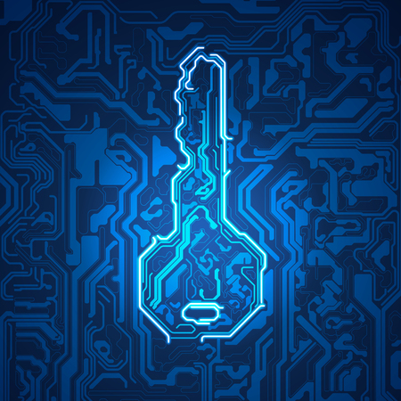 Electronic key system in futuristic style, electronic board combined with shape of a key Illustration