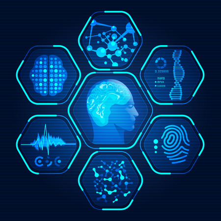 abstract technological health care; analysis of human's body parts