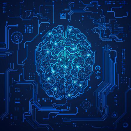 graphique d'un cerveau à l'aspect technologique; concept d'avancement technologique; plan numérique du cerveau Vecteurs
