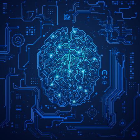 graphic of a brain in technological look; concept of technology advancement; digital blueprint of brain Illustration