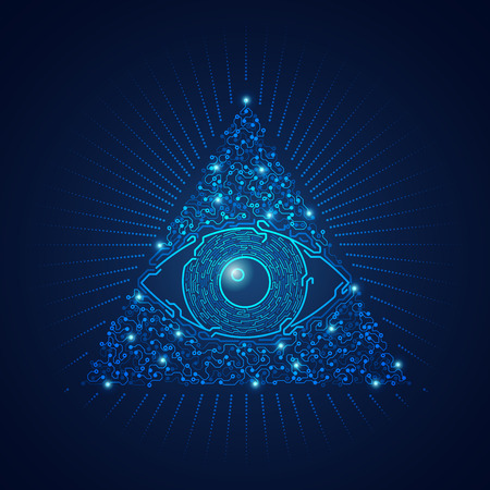 graphic of triangle electronical eye presented in futuristic style