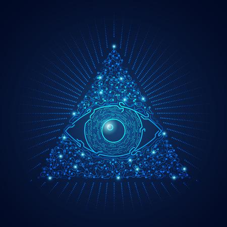 grafika przedstawiająca elektroniczne oko trójkąta w futurystycznym stylu Ilustracje wektorowe